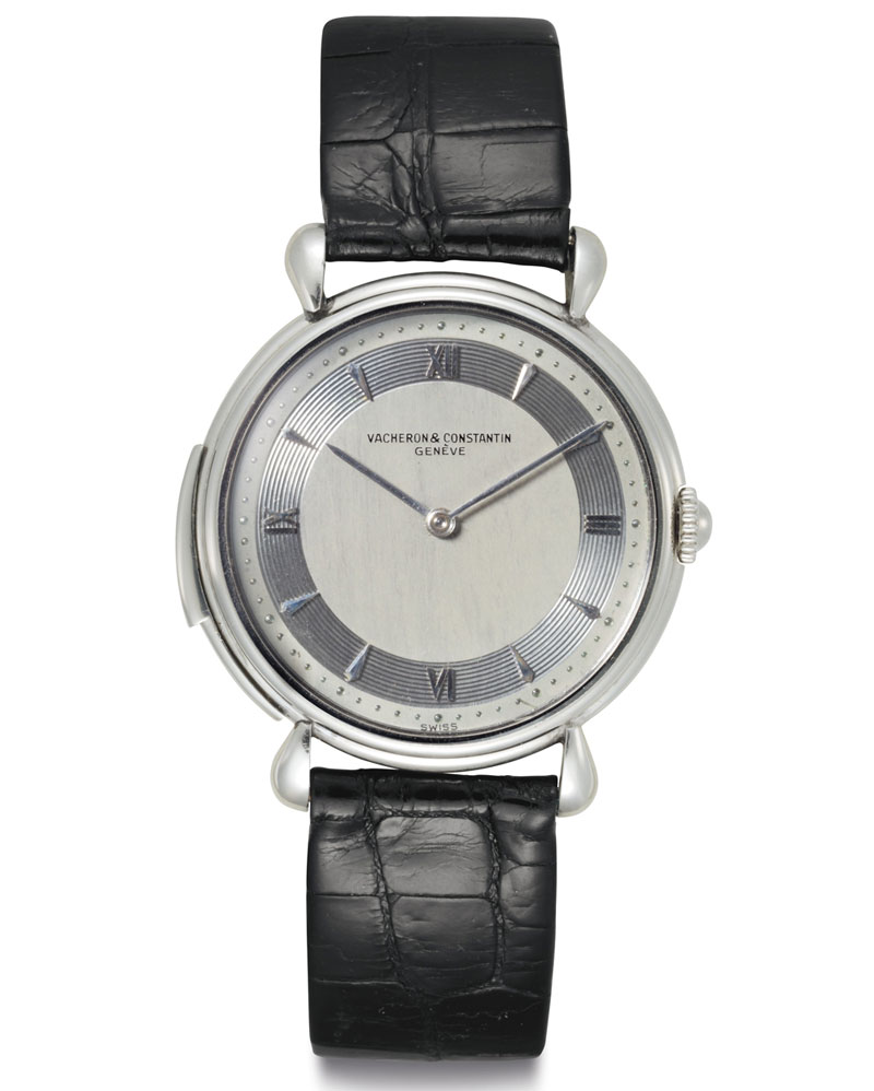 <b>Vacheron Constantin: Reference 4261 (1951)</b><br/>An extremely fine and rare platinum minute-repeating wristwatch<br/>Lot 55: Rare Watches and Exceptional Complications sale<br/><i>Estimate: $200,000-400,000</i>