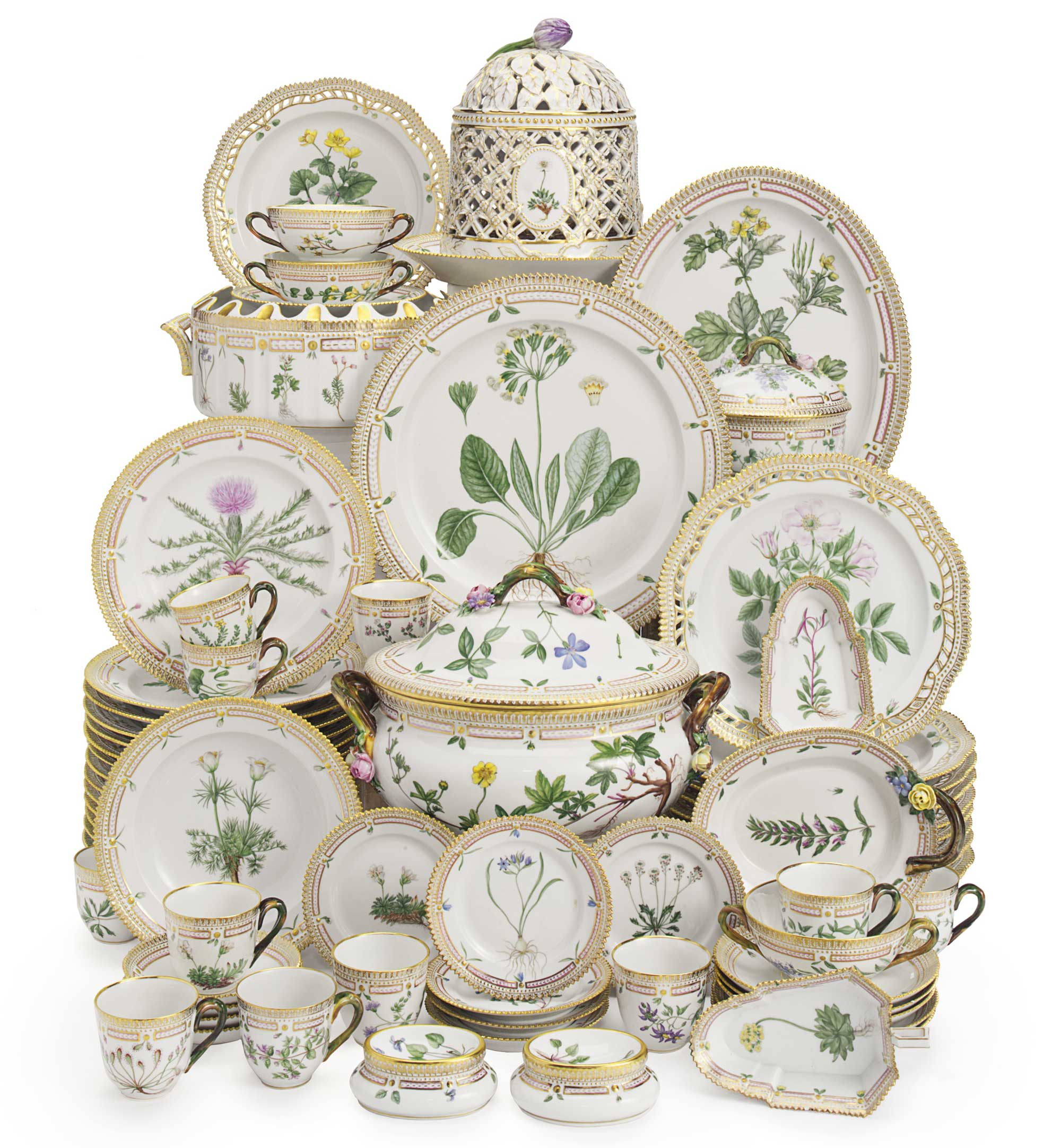 <b>A Royal Copenhagen Porcelain 'Flora Danica' Part Dinner Service</b><br/>20th Century, Blue Wave and Green Printed Crown Marks, Pattern No. 20