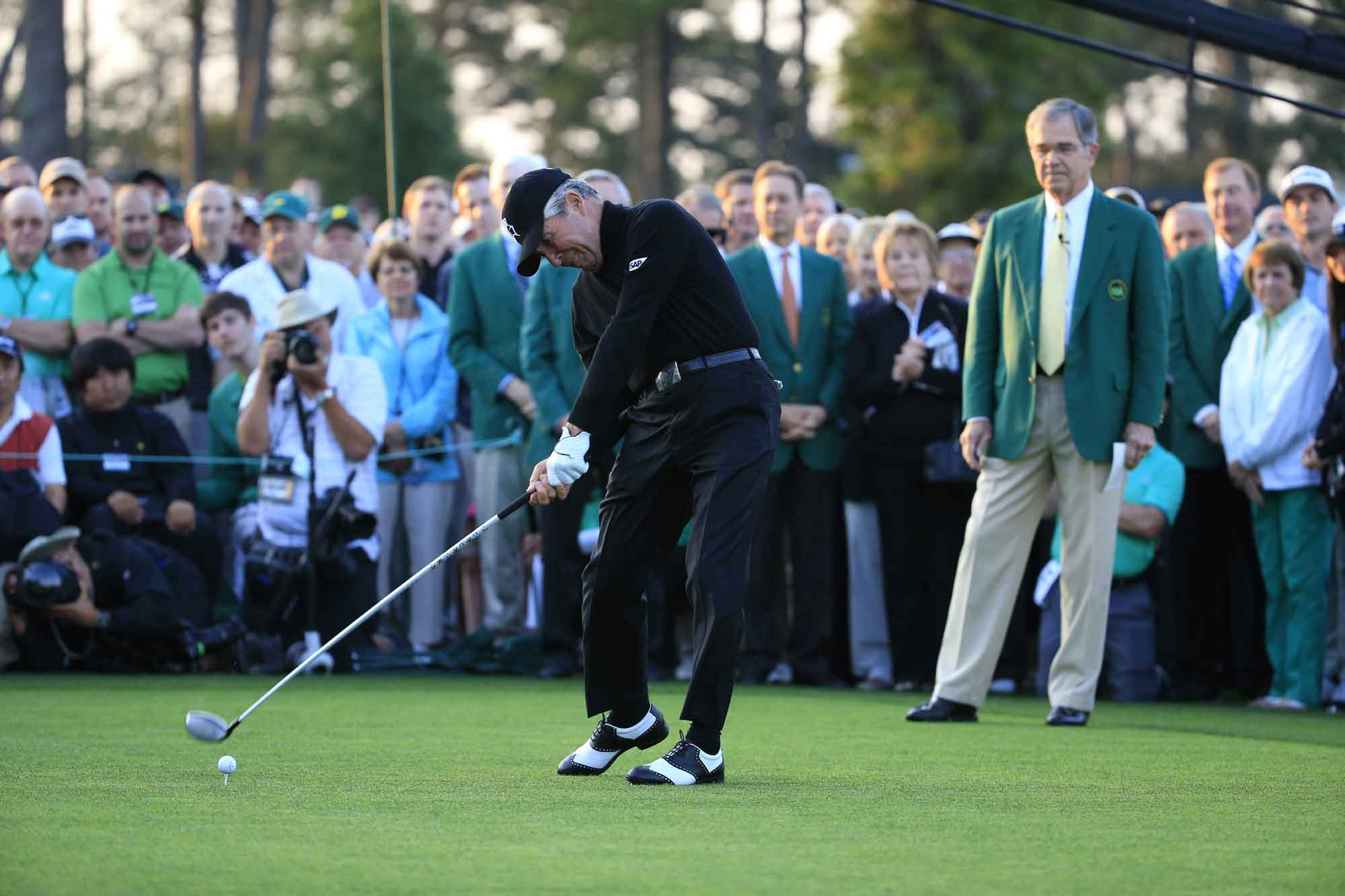 Gary Player hits the ceremonial first drive in one of golf's most prestigious roles, Honorary Starter at The Masters