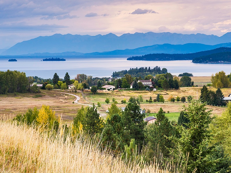 At almost 30 miles long and 15 miles across at its widest point, Flathead Lake is the largest natural lake in western USA. Photograph: Getty Images