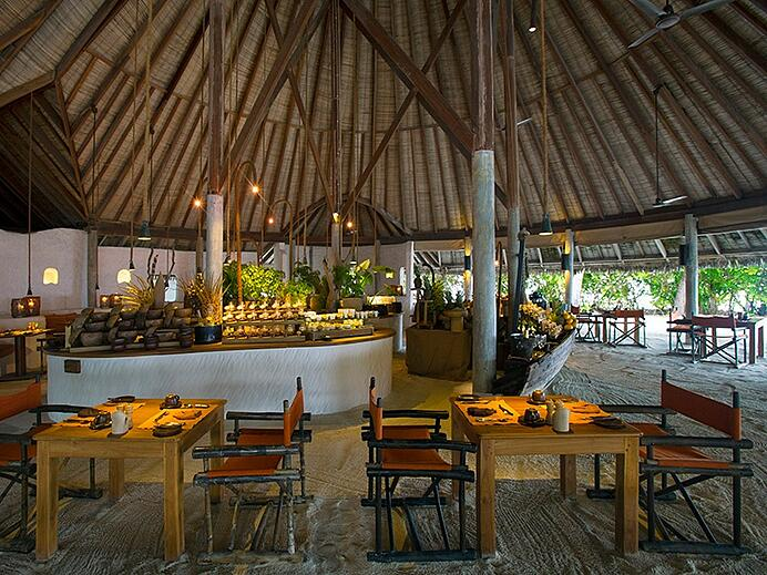 The main restaurant, presided over by executive chef John Bakker at Gili Lankanfushi. Photograph: Saki Papadopoulos