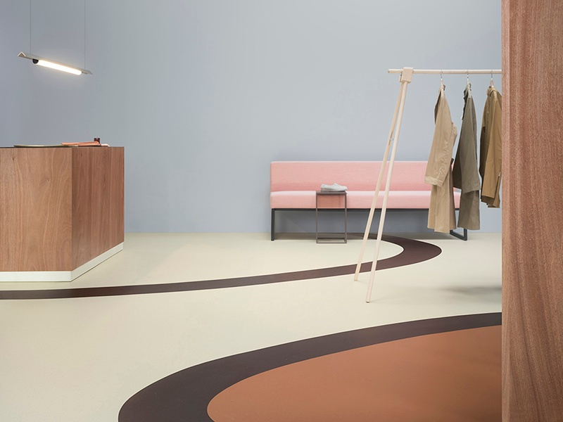 The Marmoleum Cocoa linoleum collection from Forbo uses cocoa shells to create a granular look, in shades reminiscent of white chocolate, milk chocolate, dark chocolate, and more.