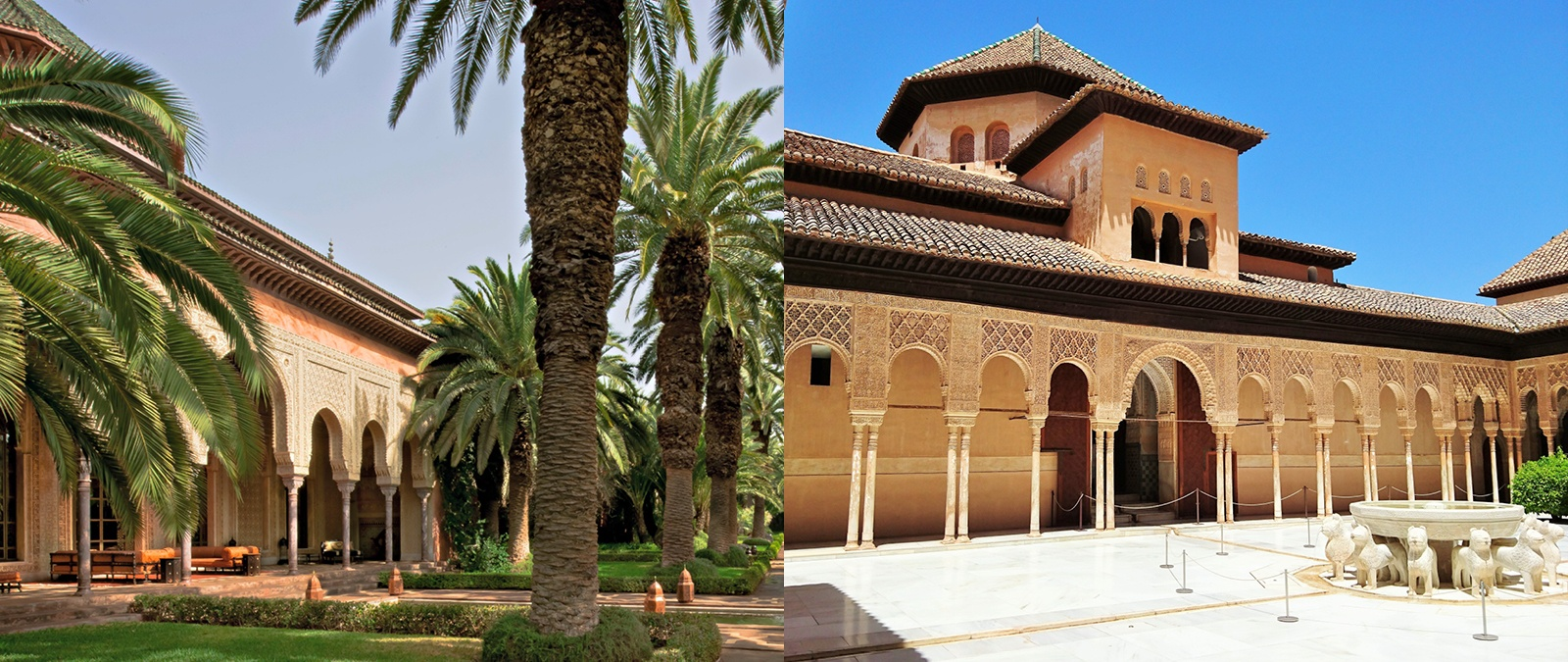 <b><em>Left</em>: <a href=&quot;http://www.christiesrealestate.com/eng/sales/detail/170-l-78232-f1306040421700036/sale-villa-marrakesh-marrakesh-mh-40000&quot;target=&quot;_blank&quot;>Villa Marrakesh</a></br></b>It took 1,300 artisans three years to complete Villa Marrakesh's 59,632-square-foot interior and Moorish-inspired gardens.</br></br><b><em>Right</em>: The Alhambra</br></b>Originally built as a fortress in 889, the Alhambra palace was constructed from the 13th to the 14th century during the reign of the Emirate of Granada. It was deemed a World Heritage site by UNESCO in 1984.