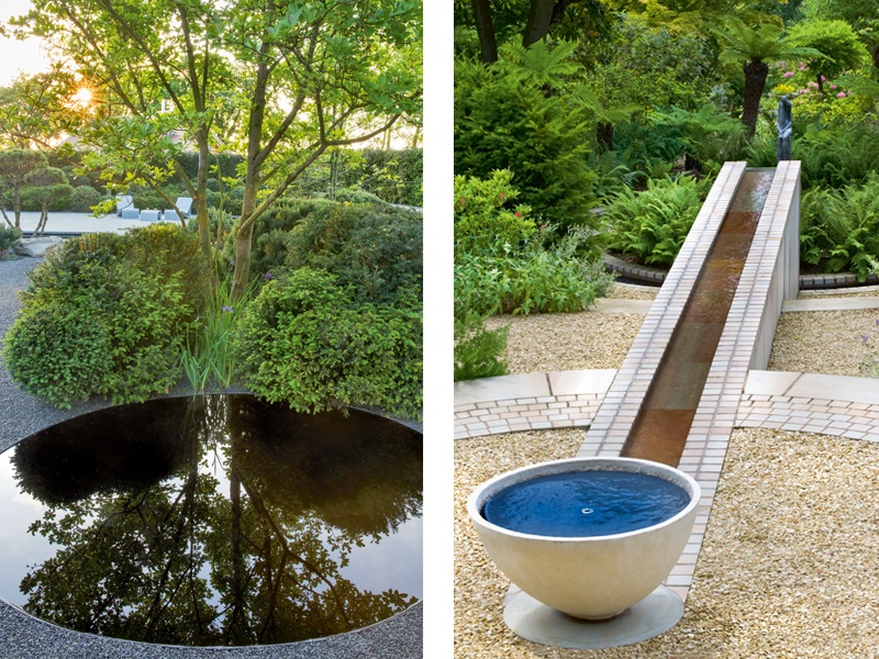 <i>Left:</i> A reflective pool by Matt Keightley. Photograph: Marianne Majerus. <i>Right:</i> A design by Andy Sturgeon for a private country estate in North Wales. Photograph: Helen Fickling