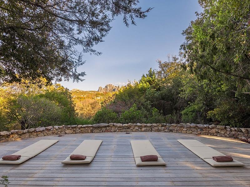 A yoga/meditation deck is one of the highlights of the nine-bedroom La Garibaldina villa on the Costa Smeralda in Sardinia, Italy.