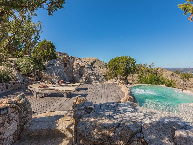 Also on La Garibaldina's 18.5-acre estate is an infinity-edge pool with terrace that overlooks the archipelago of La Maddalena.