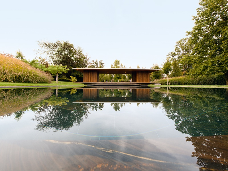 The Meditation Pavilion and Garden by GM Architects creates an atmosphere perfect for contemplation at this Geneva home. Photograph: A Karour