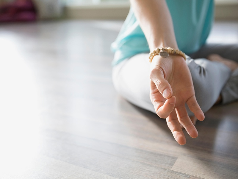 Hand gestures, or <i>mudras</i>, are commonly used during meditation and are said to channel energy through the body. Photograph: Alamy. Banner image: The Open Vessel meditation pod.