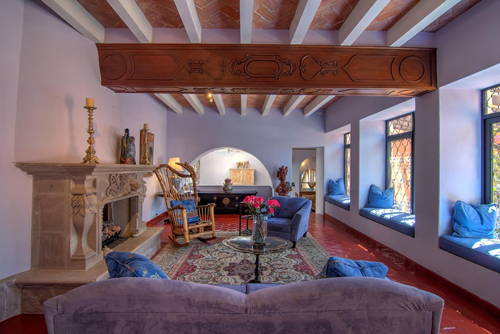 Casa de los Leones abounds with authentic Spanish-Colonial architectural details, including several fireplaces carved from cantera stone.