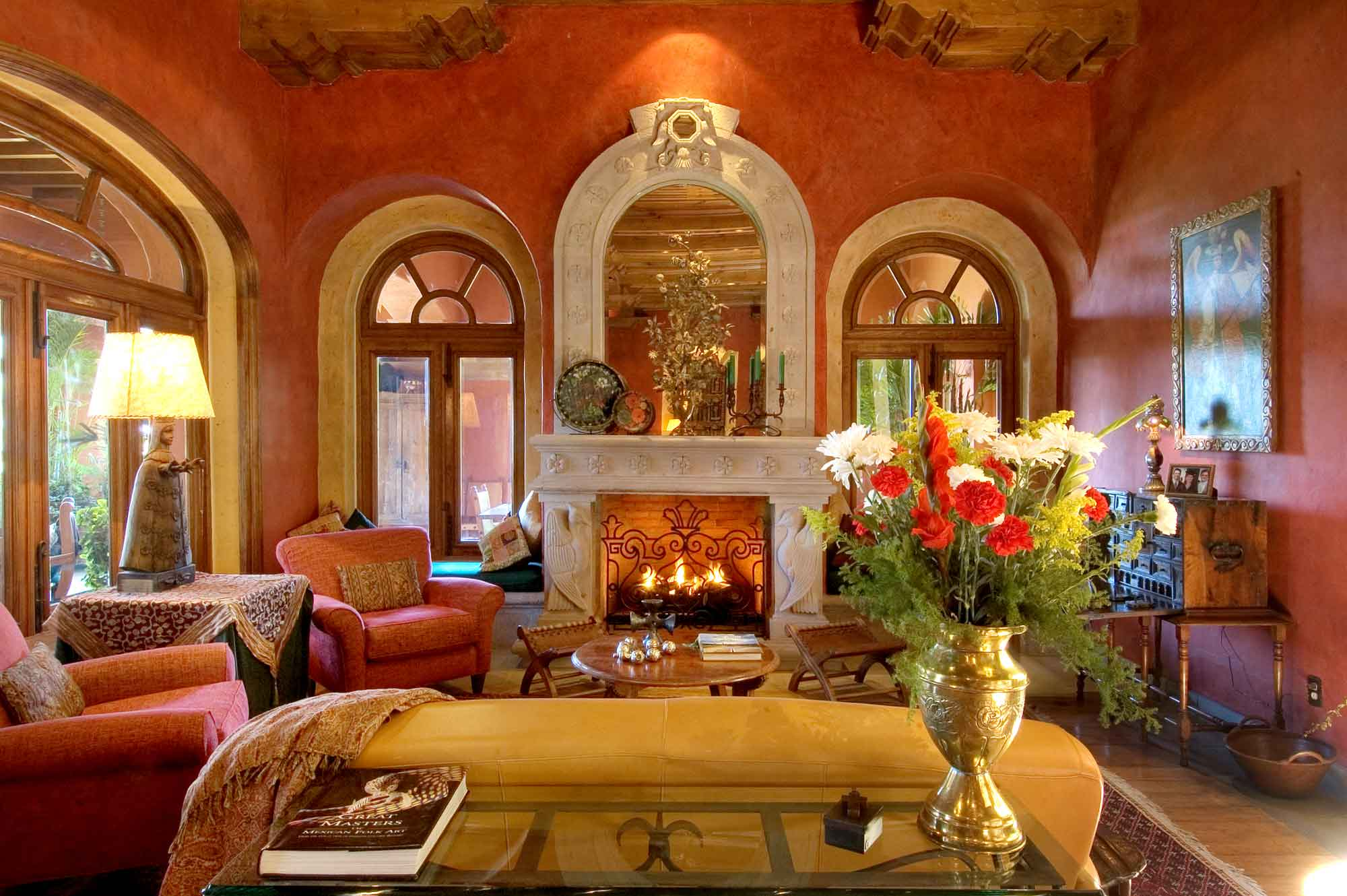 Casa Heyne, an enchanting hilltop hacienda in San Miguel de Allende, has an abundance of decorative windows, designed to infuse the interiors with sunlight and frame breathtaking views of the tropical landscape.