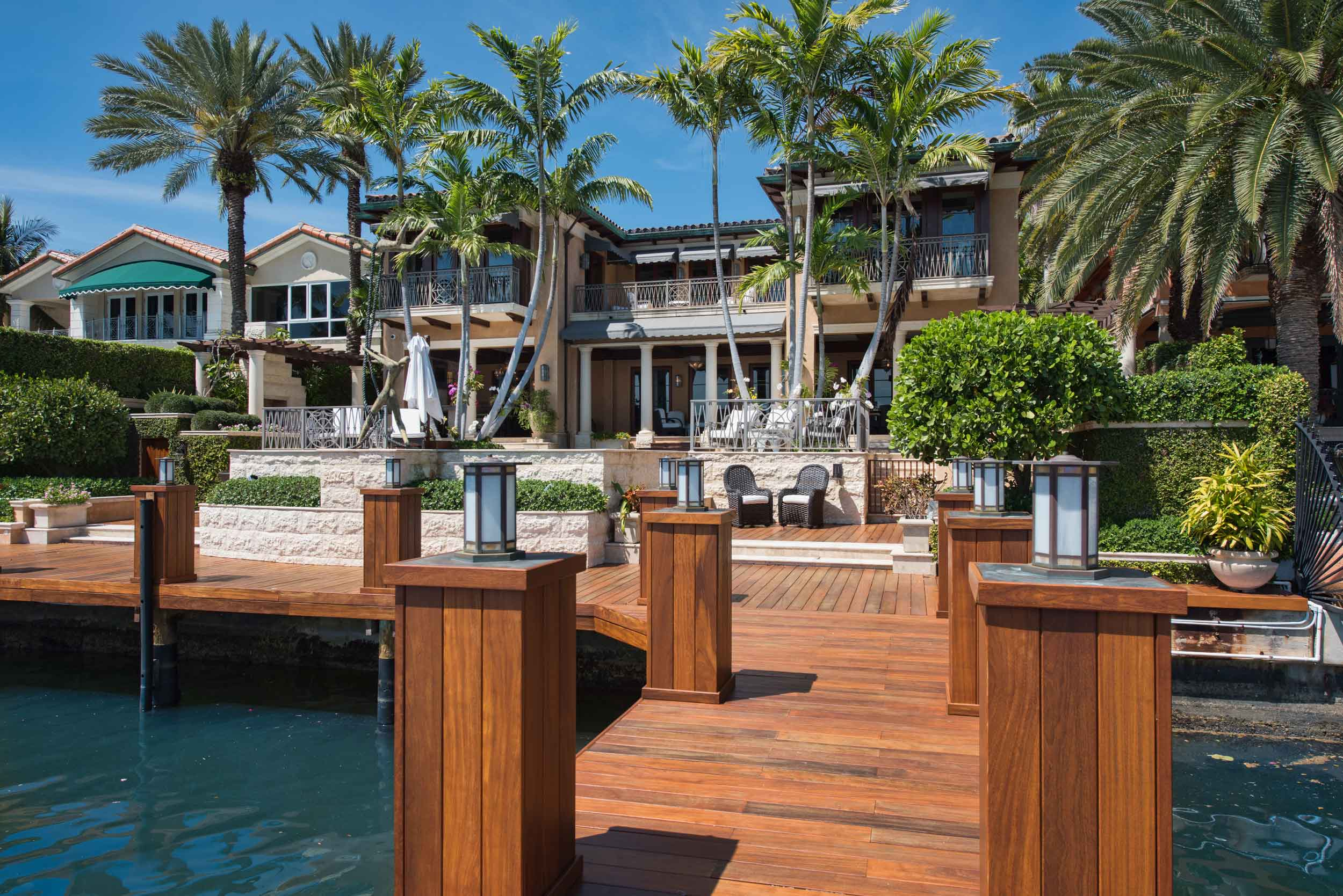 Bay House is a grand Palladian-style estate with an exquisite pool terrace and a private dock on Biscayne Bay.