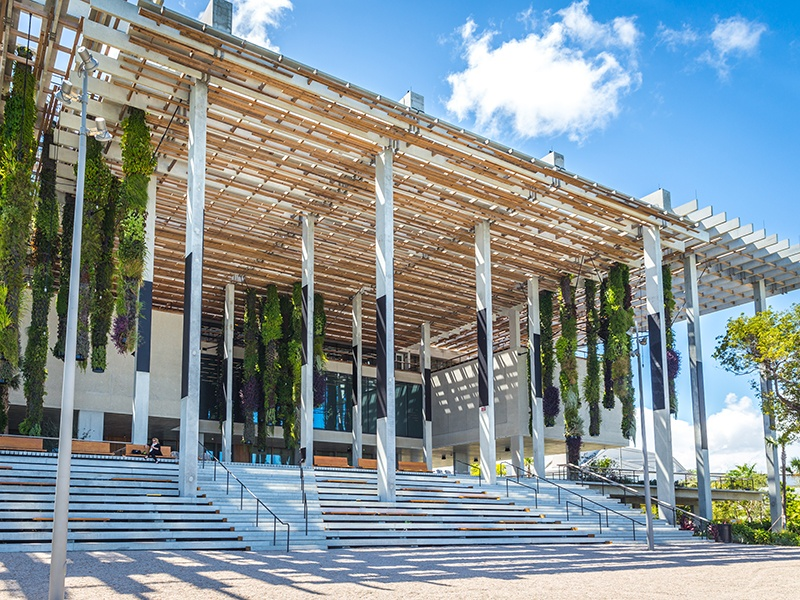 Pérez Art Museum Miami, designed by Pritzker Prize-winning architects Herzog & de Meuron, has a waterfront restaurant with spectacular views of Biscayne Bay. Photograph: Shutterstock
