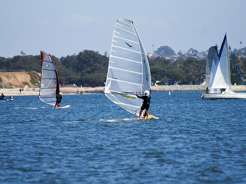 A popular choice for windsurfers, Mission Bay is 10 miles north of downtownSan Diego. Photograph: iStock