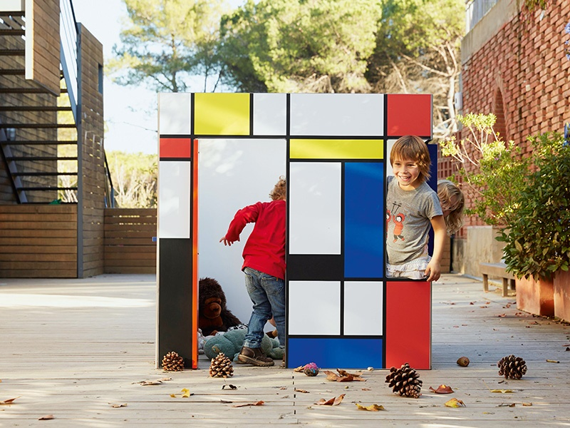 In the style of Piet Mondrian, this colorful Stiljaus model, by SmartPlayhouse, is just one example of the company's cube designs; by contrast, Kyoto is minimalist white with irregular window holes (see banner image).