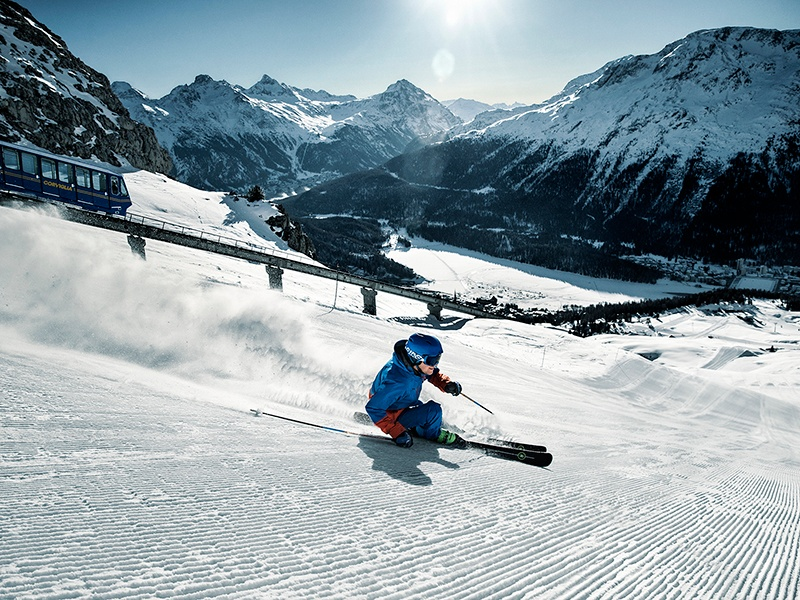 St Moritz offers something for every skier – there are 217 miles of pistes divided over 10 sectors, including Corviglia. Photograph: Engadin St Moritz Mountains/Aestivation