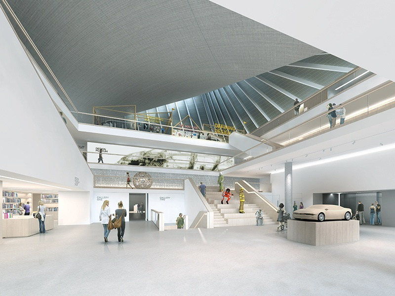 A render of inside London's new 107,639-square-foot Design Museum, due to open in November. Image: Alex Morris