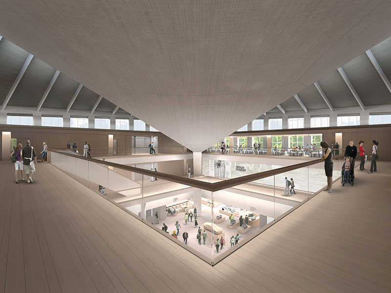 An atrium will cut through the Design Museum's floor plan and reveal the underside of the concrete roof. Image: Alex Morris