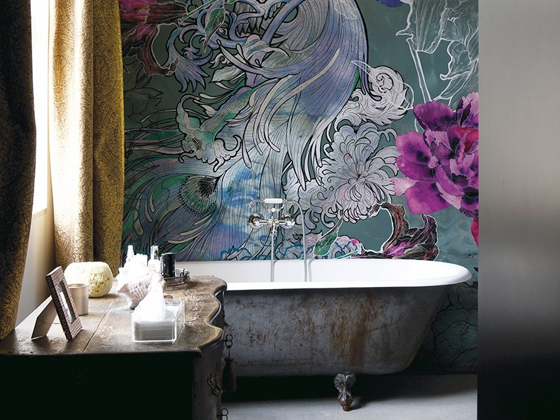 Introduce decorative visuals with Wall & Decò's waterproof wallpaper. Designs range from abstract patterns to illustrative pieces, such as the floral Mystical Dream, pictured here.