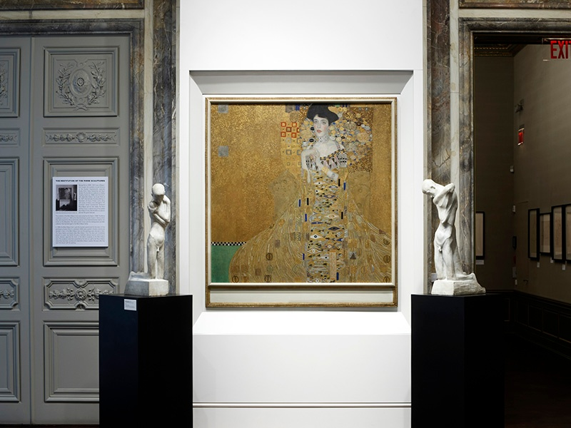 <i>Portrait of Adele Bloch-Bauer I</i> by Gustav Klimt, and sculptures by George Minne, at the Neue Galerie, which is housed in the William Starr Miller House, at 86th Street and Fifth Avenue. Photograph: Hulya Kolabas for Neue Galerie New York