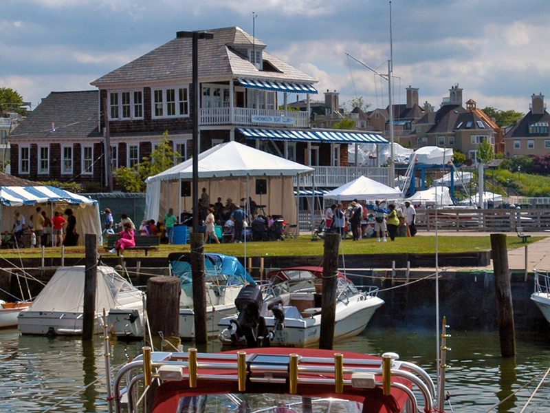 Monmouth Boat Club's charming three-story clubhouse is on the National Register of Historic Places.