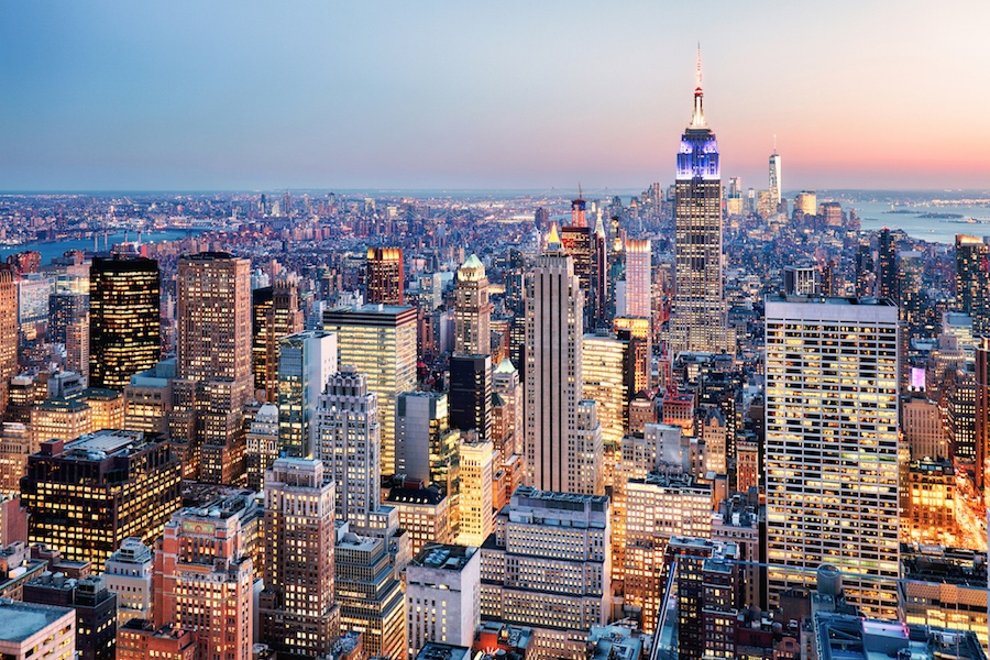 Midtown Manhattan offers both proximity to the heart of the theater district and unobstructed Hudson River views.