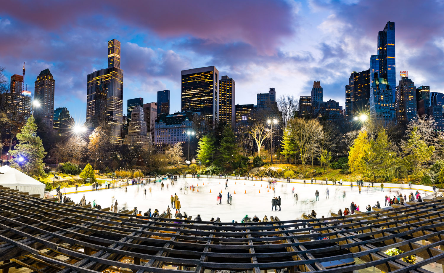 Ice skating has been a winter tradition in New York City's Central Park since 1858, as old as the park itself. With its iconic views of the New York City skyline, the city's finest skating venue is the Wollman Rink, located at the southeast corner of Central Park. Close by is the Lasker Rink, at the north end of the park, and the Big Apple's famous Rink at Rockefeller Center.