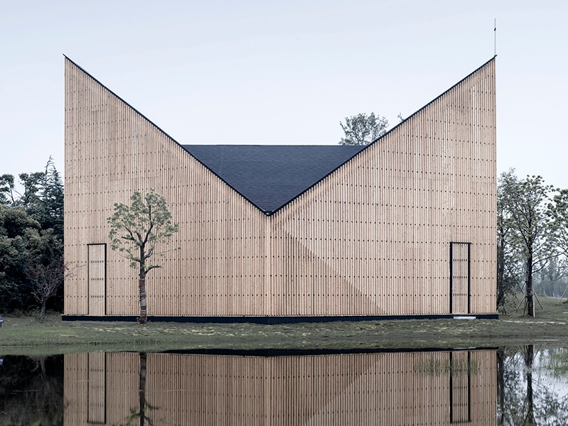 The Nanjing Wanjing Garden Chapel in Nanjing, China, created in 2014 by AZL, has a distinctive V-shaped roof, and the structure appears to change shape depending on the angle from which visitors approach. Banner image: One of 20 roadside service stations created by German architectural firm J Mayer H for a new highway running through Georgia, connecting Azerbaijan and Turkey.
