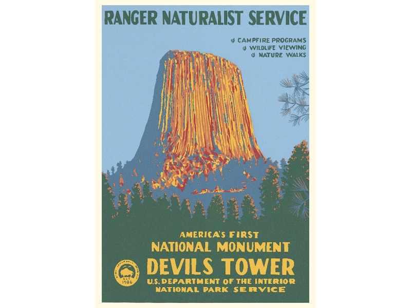 """""""America's First National Monument / Devils Tower"""" – Library of Congress, Prints & Photographs Division, WPA Poster Collection"""