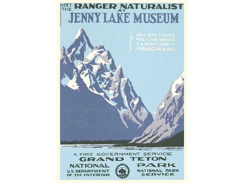 """""""Meet the Ranger Naturalist at Jenny Lake Museum / Grand Teton National Park""""– Library of Congress, Prints & Photographs Division, WPA Poster Collection"""