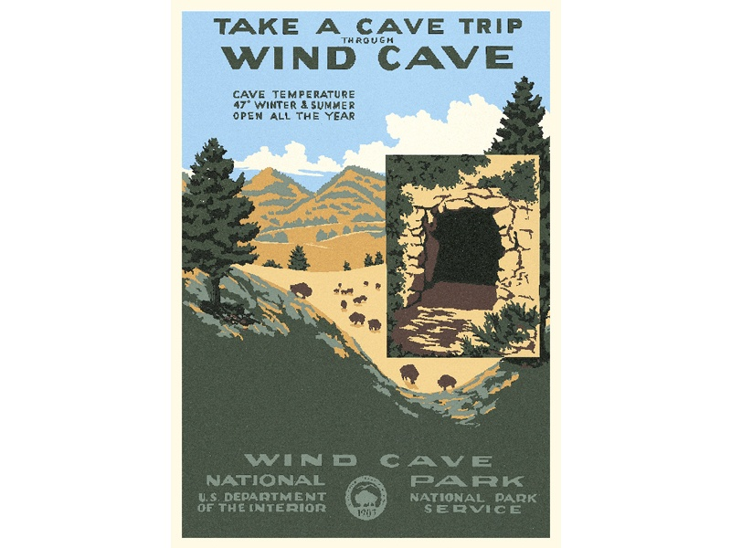 """""""Take a Cave Trip Through Wind Cave / Wind Cave National Park"""" – Library of Congress, Prints & Photographs Division, WPA Poster Collection"""