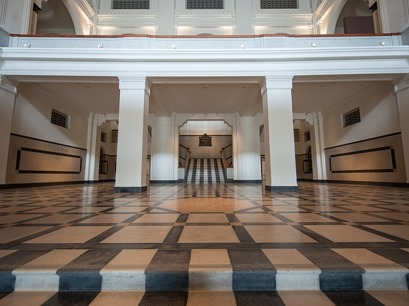 The former foyer of Singapore's Supreme Court—with its eight-sided foundation stone left intact—is now part of the National Gallery Singapore. Photograph: National Gallery Singapore