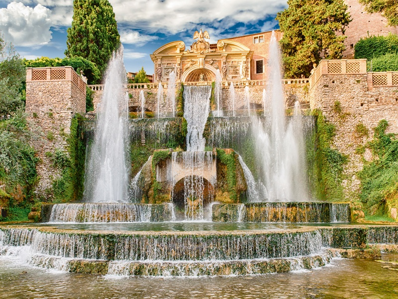 The 16th-century Villa d'Este in Tivoli, near Rome, is a UNESCO World Heritage Site with a proliferation of fountains—including the Fountain of Neptune. Photograph: Shutterstock. Banner image: Water chutes jut out over a rock pool in The Telegraph Garden by Andy Sturgeon, created for the 2016 RHS Chelsea Flower Show. Banner photograph: Marianne Majerus