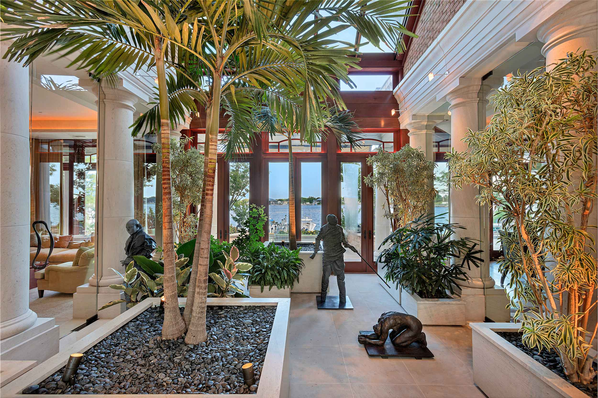 The Japanese-style garden, housed in a magnificent two-story atrium, provides a tranquil space to relax while enjoying the scenic beauty of the Manasquan River.