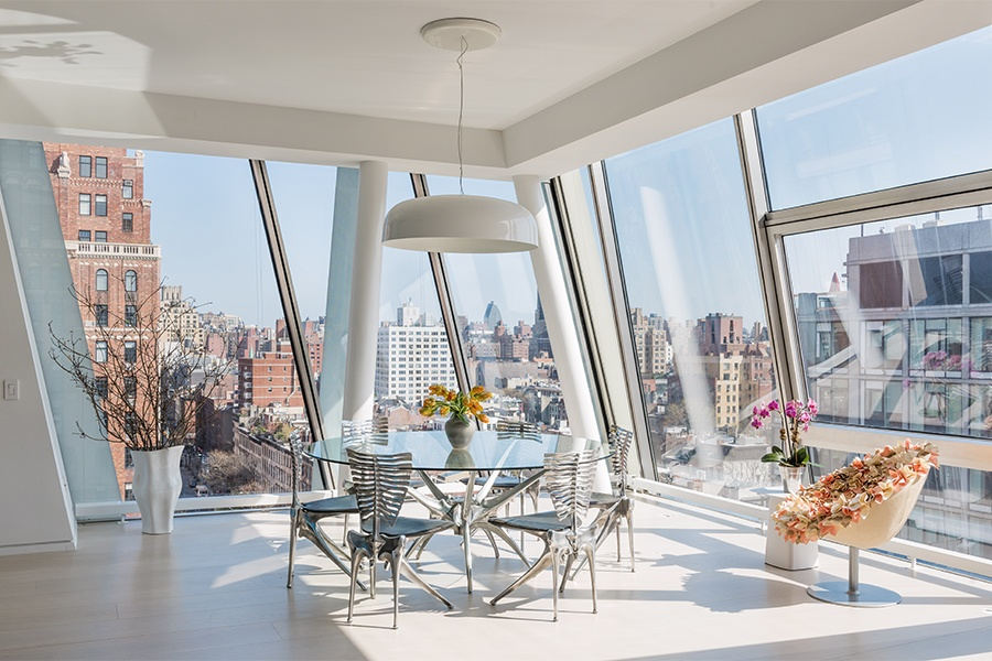 With its floor-to-ceiling windows and stunning views, this luxury condo on West 23rd Street is typical of Chelsea, one of Manhattan's most desirable neighborhoods.