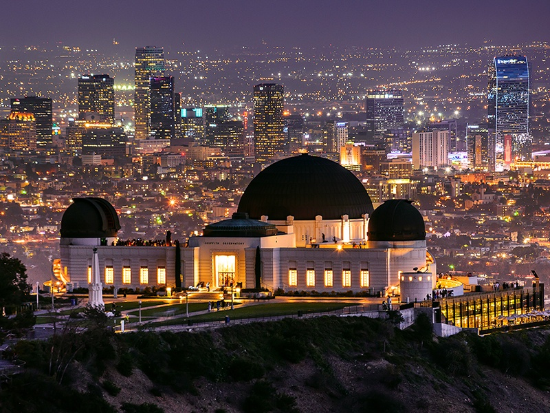 Griffith Observatory in Los Angeles, made famous by <i>Rebel Without a Cause</i>, also has a starring role in <i>La La Land</i>. Photograph: Getty Images