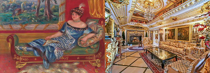 <i>Left: </i><b><a href=&quot;http://www.christies.com//lotfinder/paintings/pierre-auguste-renoir-madame-de-galea-a-la-5992060-details.aspx?from=searchresults&amp;intObjectID=5992060&amp;sid=ce2eb30b-b086-40fc-aa7f-8a3b15042fb2&quot; target=&quot;_blank&quot;>MADAME DE GALÉA À LA MÉRIDIENNE</a><br/>Pierre-Auguste Renoir (1841-1919)<br/>Estimate: $8,000,000-12,000,000</b> <br/><br/> <i>Right: </i><b>VILLA FABERGÉ</b><br/>Newport Beach, California<br/> <i>Offered by First Team Estates</i><br/><b>List price: $9,888,000</b>