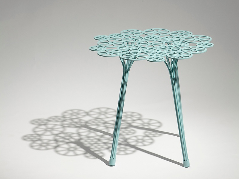 The Estrela range, designed by the Campana brothers, comes in white and seafoam and includes a side table (pictured), coffee table, and dinner table.