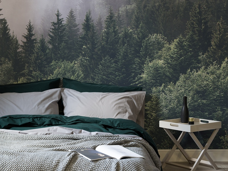 Murals Wallpaper's moody forest panoramas (above and banner image), evoke a sense of space and luxury, with their jewel-toned, emerald hues.
