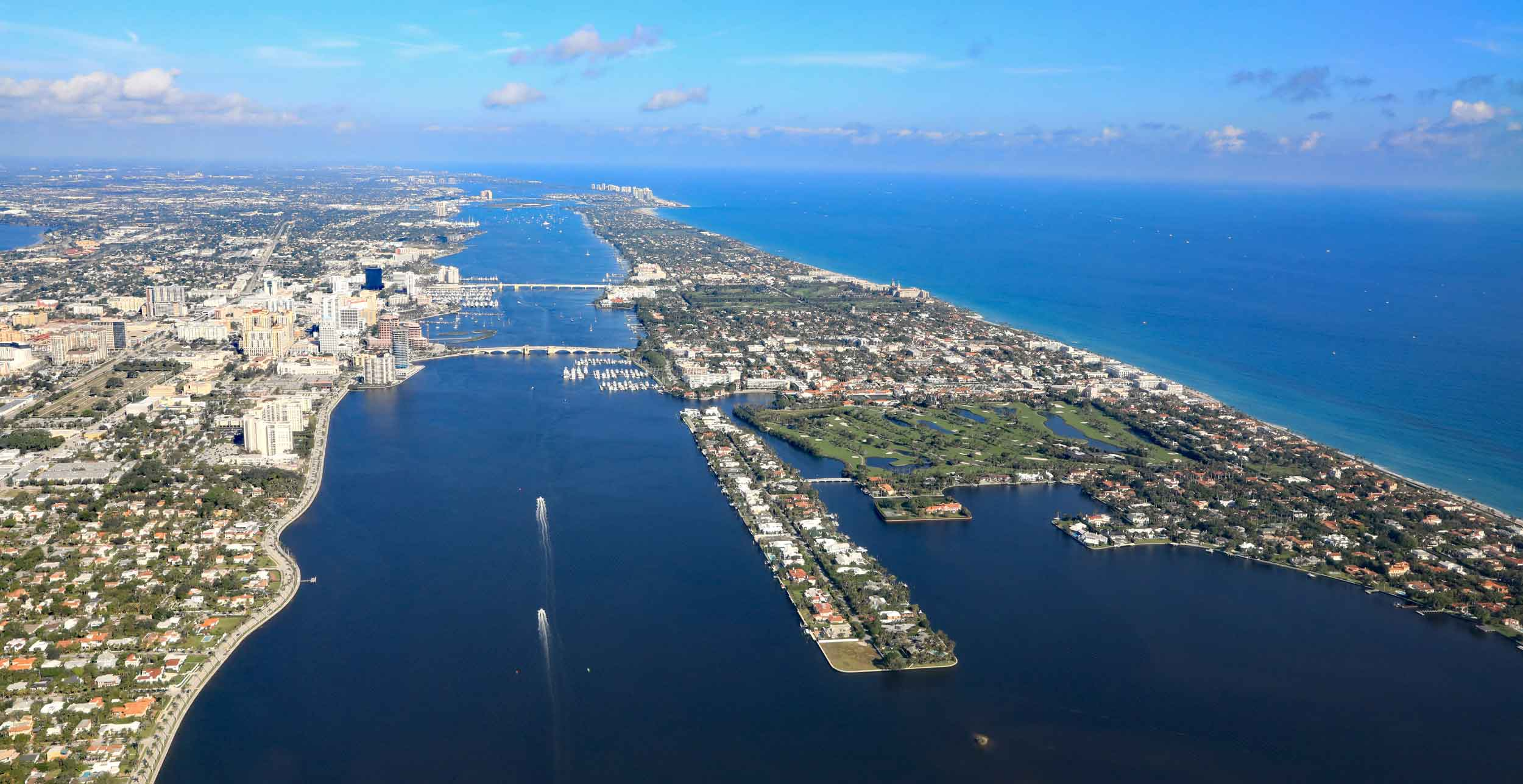 America's first resort destination: The 12-mile-long barrier island of Palm Beach is situated between the Intracoastal Waterway and the Atlantic Ocean in southeast Florida.