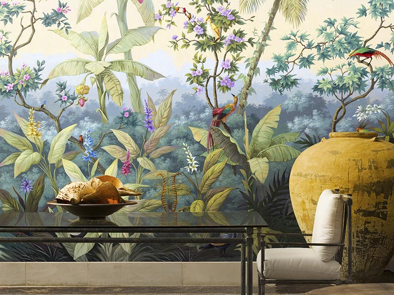 Palmera wallcovering from the Panoramics collection by Paul Montgomery Fine Murals. Main image: Classic Summer Tropical Bloom wallpaper from the Seasons collection by Sian Zeng.