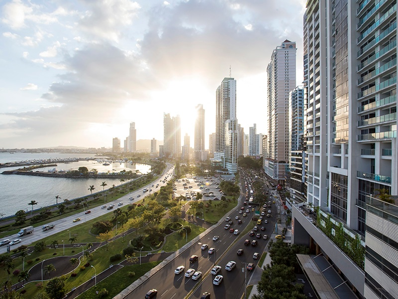 High-rise condominium buildings line Balboa Avenue in Panama City, one of the most exclusive streets in the country. Photograph: Getty Images
