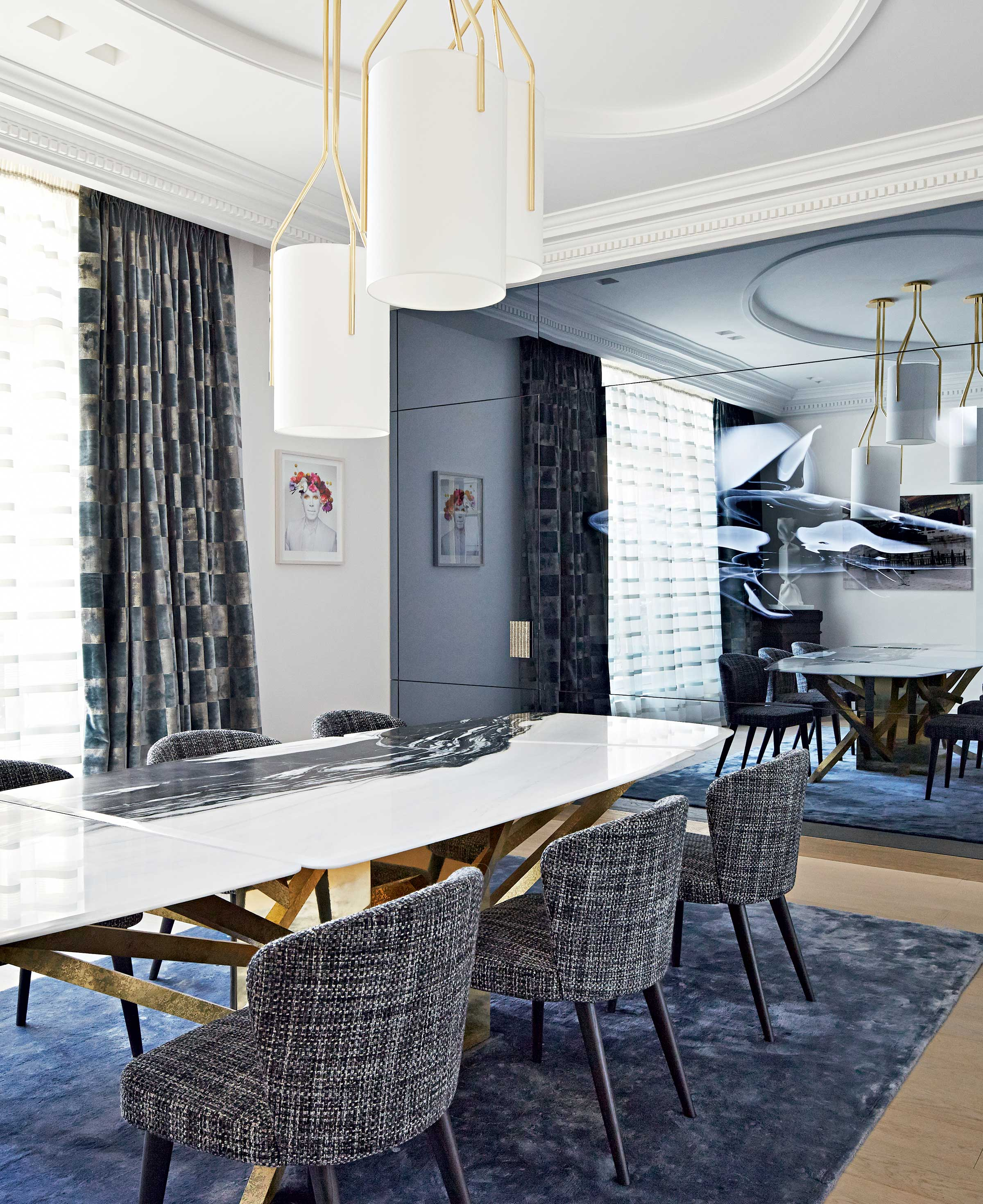 Unique vision: Renowned interior designer Stéphanie Coutas introduced statement artworks and bespoke elements to the apartment, such as an integrated original video installation, as well as incorporating a music and video system throughout.