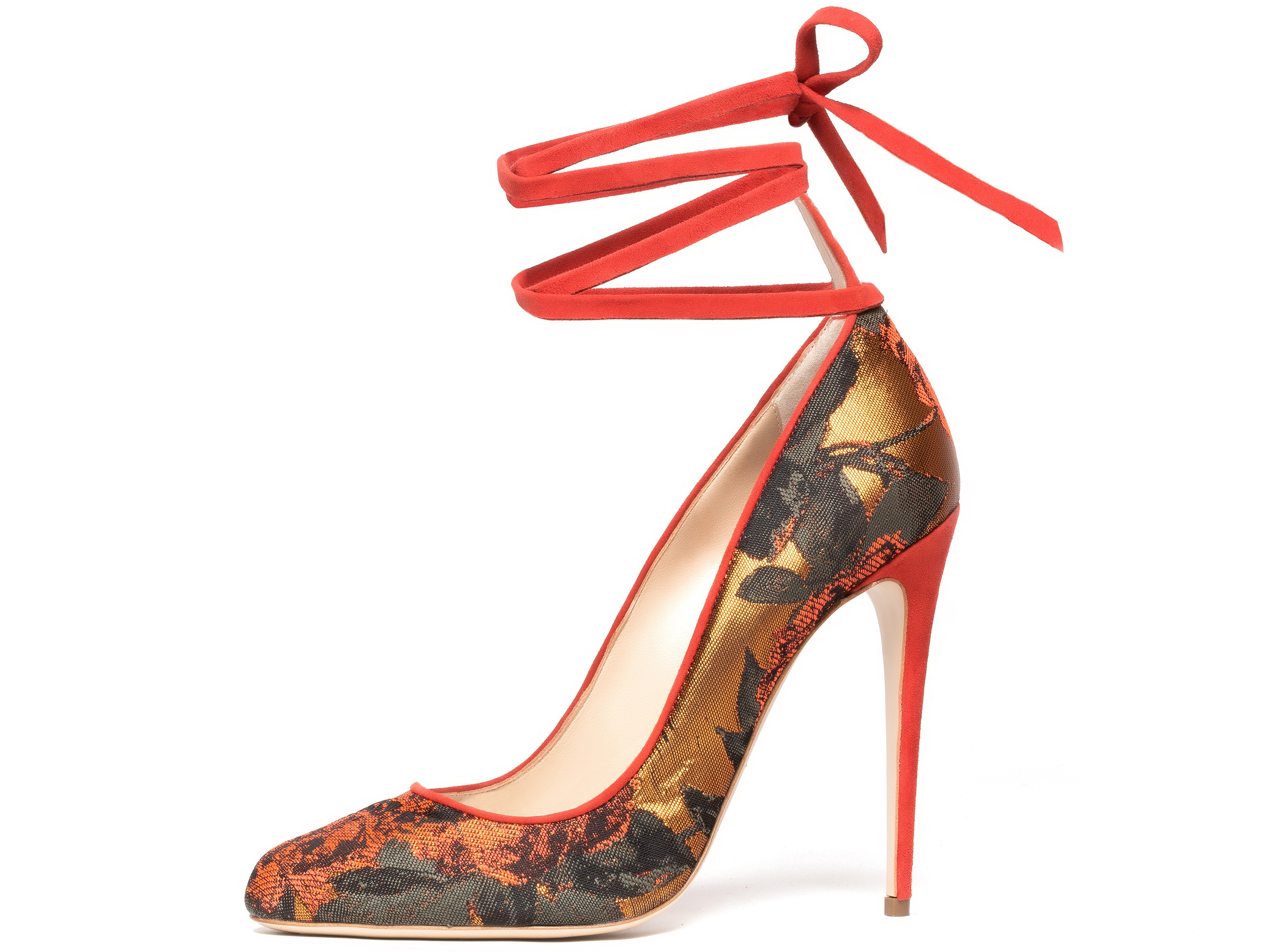 Paul Andrew stiletto with ankle lacing, Topkapi design in colorway Burnt Orange, Floral Lurex Jacquard.