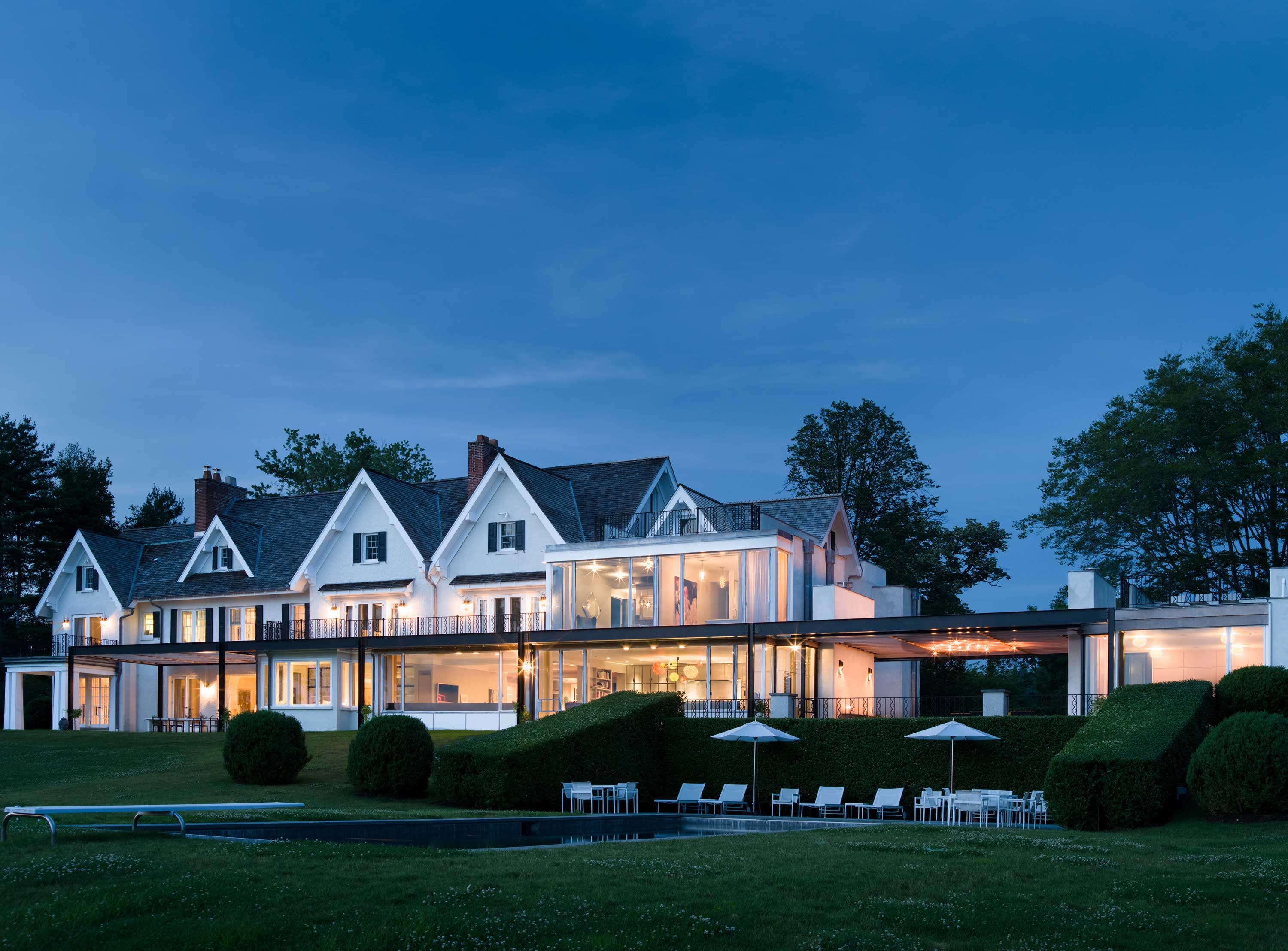 This six-acre waterfront estate is a boater's paradise on Long Island Sound, yet is only 55 minutes' drive from New York City.