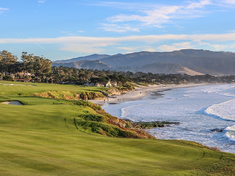 Pebble Beach, the top public golf course in America, will host the 2019 U.S. Open Championship. Pebble Beach and its four sister courses overlook California's Monterey Peninsula, with the waves of the Pacific Ocean crashing in the background. Photograph: Courtesy of Pebble Beach Company