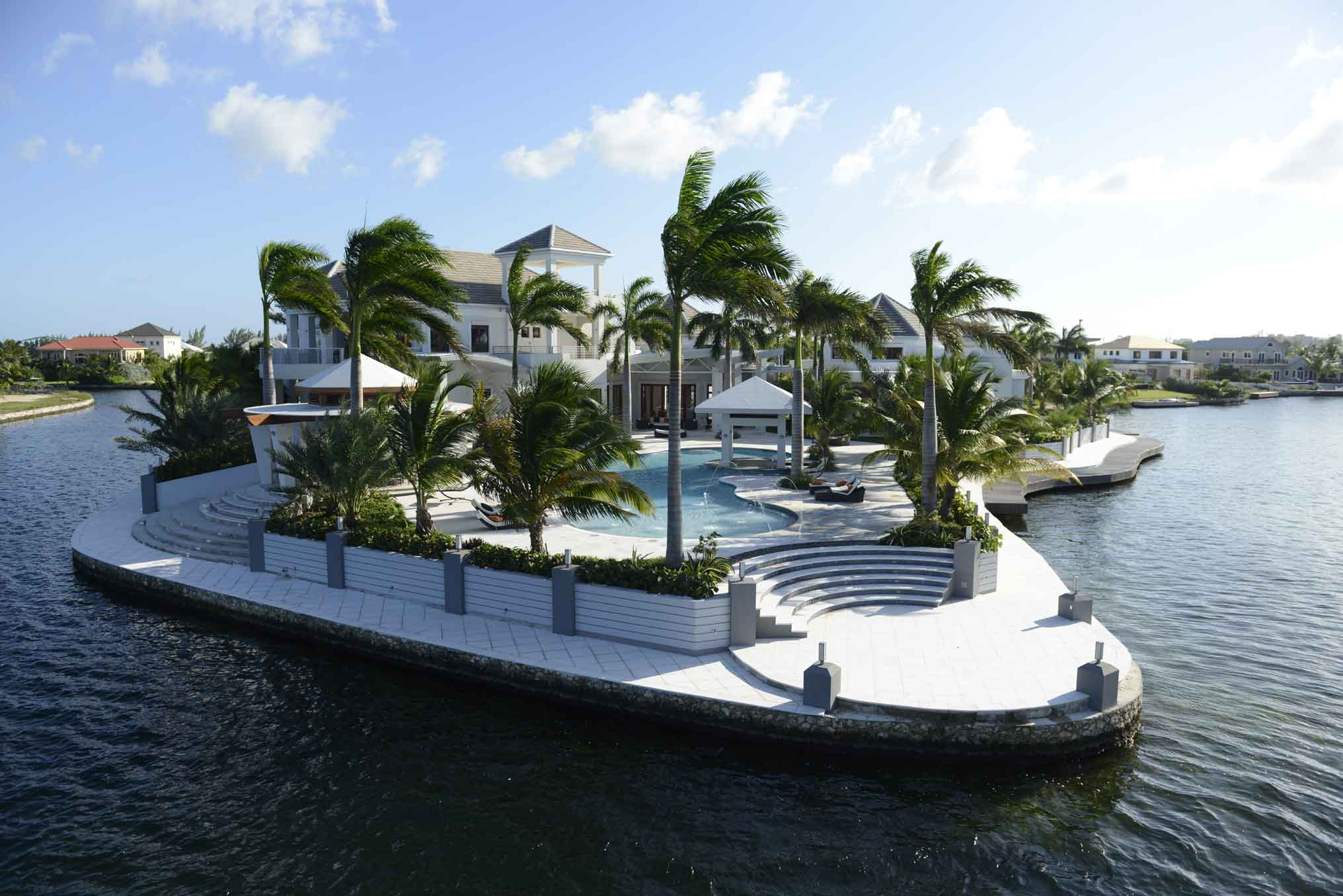 This Cayman Islands estate features a high-tech security system throughout the property