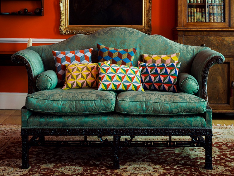 London boutique Pentreath & Hall is among the interior design specialists that have featured cushions crafted by prisoners as part of the Fine Cell Work social enterprise. Photograph: Simon Bevan