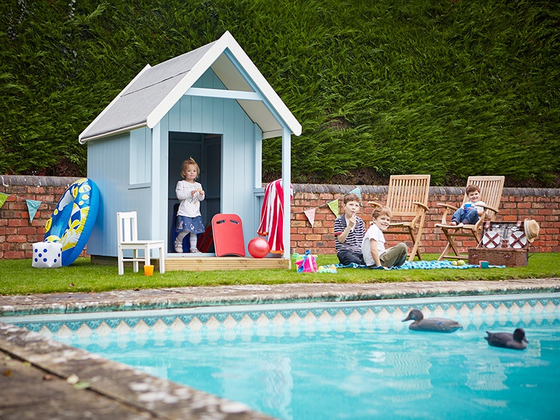 Playhouses today come in all shapes and sizes, from classic designs to specialist creations, such as this traditional British beach hut for the poolside, by The Playhouse Company. Banner image: The Kyoto Maxi by SmartPlayhouse.