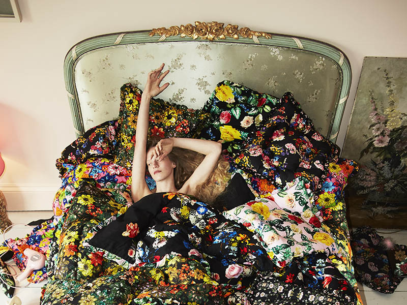 New homewares by Preen, including this floral bedding, embrace the maximalist trend, with a vintage feel.