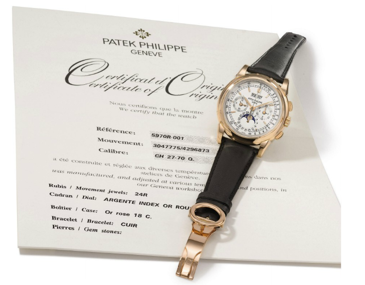 A Patek Philippe Reference 5970 perpetual calendar chronograph wristwatch in pink-gold with moon-phase display<br/><i>Price: $80,000 – $120,000</i>